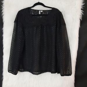 Elle Sheer Black Long Sleeved Top Size XL